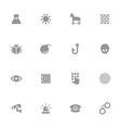 gray simple flat icon set 7 vector image vector image