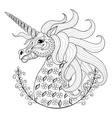 Hand drawing Unicorn for adult anti stress vector image