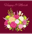 happy 8 march promo poster vector image vector image