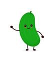 happy smilling cute cucumber vector image vector image
