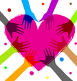 heart with human hands vector image vector image