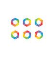 hexagon colorful set logo design concept vector image