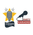 Karaoke club and bar labels or logotype vector image vector image