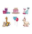 kids birthday elements vector image