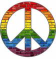 lgbt peace symbol in a brick texture vector image