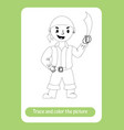 little smiling pirate with saber trace and color vector image vector image