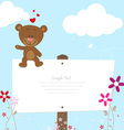 Lovely bear greeting card vector image vector image