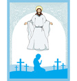 man prays to Jesus vector image