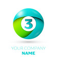 number three logo symbol in colorful circle vector image vector image