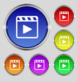 Play video icon sign Round symbol on bright vector image vector image