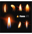 realistic candle fire lighter flame vector image vector image