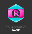 realistic letter r logo in colorful hexagonal vector image vector image