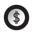 round black white icon - dollar currency symbol vector image vector image