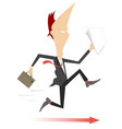 running businessman and the arrow sign under his f vector image vector image