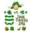 saint patricks day designer cartoon elements set vector image