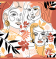 seamless pattern womans face minimal line style vector image vector image