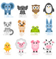 set cute cartoon animals flat style icons vector image vector image