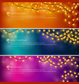 set of festive bannersyellow glowing garlands vector image vector image