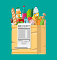 shopping bag full of groceries and receipt vector image vector image