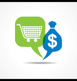Shopping cart and dollar symbol in message bubble vector image vector image