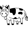 simple black and white cow vector image vector image