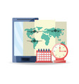 smartphone with map to destination of travel vector image vector image