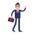 smiling businessman with bag full length portrait vector image