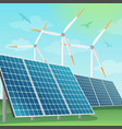 solar batteries and windmills vector image vector image