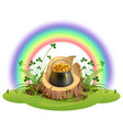 st patrick day pot of gold coins on stump under vector image vector image