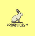 standing rabbit logo template with modern emblem vector image