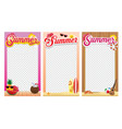 summer photo frame theme design set vector image