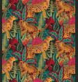 vestor seamless pattern with jaguars tropical vector image vector image