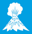 volcano erupting icon white vector image vector image