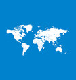 white world map flat on blue background vector image