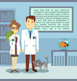 flat veterinary office with doctors and animals vector image