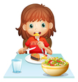 A young woman eating lunch vector image vector image