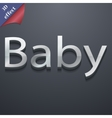 Baby on board icon symbol 3D style Trendy modern vector image