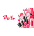 banner with manicure tools vector image vector image