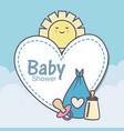 bashower feeding bottle pacifier diaper blue vector image
