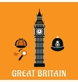 Big Ben tower and other britain objects vector image vector image