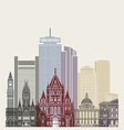 Boston skyline poster vector image vector image