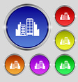 Buildings icon sign Round symbol on bright vector image vector image