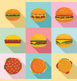 burger sandwich bread bun icons set flat style vector image