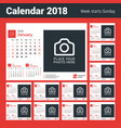calendar for 2018 year design print template with vector image vector image