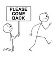 cartoon angry customer or worker walking away vector image vector image