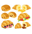 cartoon croissant baked croissant with chocolate vector image