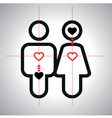 Concept unusual lovely couple silhouette vector image vector image
