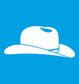 cowboy hat icon white vector image vector image