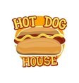 Creative logo design with hot dog vector image vector image