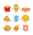 cute funny smiling happy fast food vector image vector image